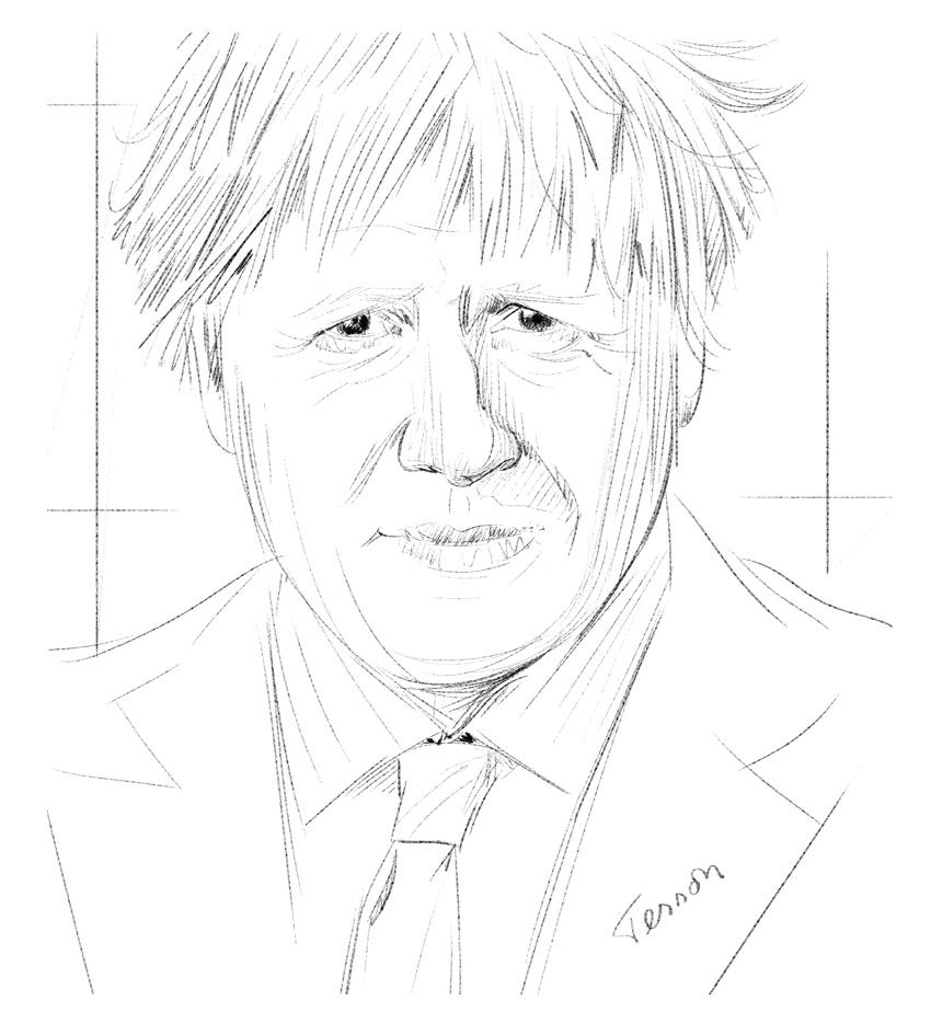 boris johnson, portrait dessiné
