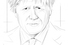 boris johnson, portrait dessiné