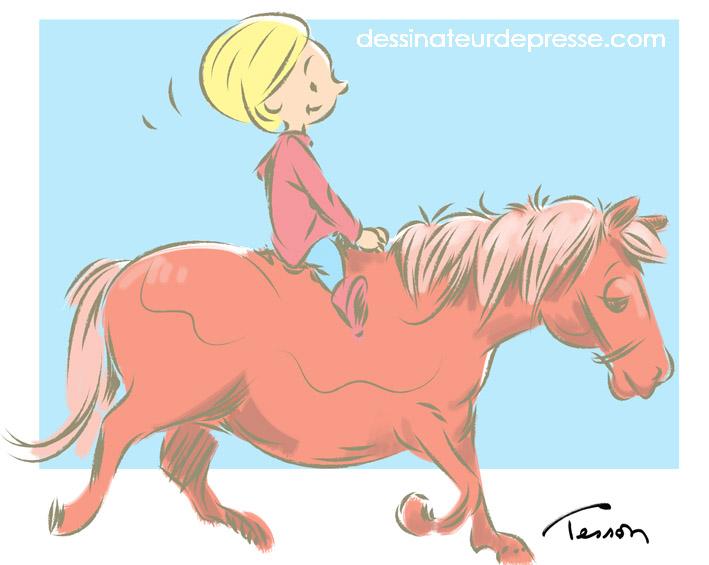 enfant poney