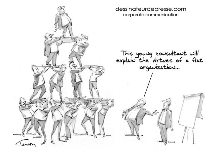 flat organization cartoon