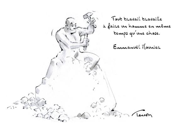 Travail et bonheur, illustration, dessin de presse.