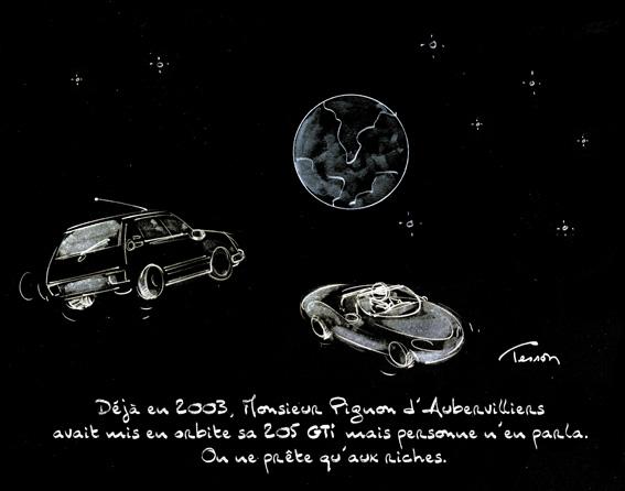 Elon Musk… SpaceX… Voiture en orbite… Dessin de presse.
