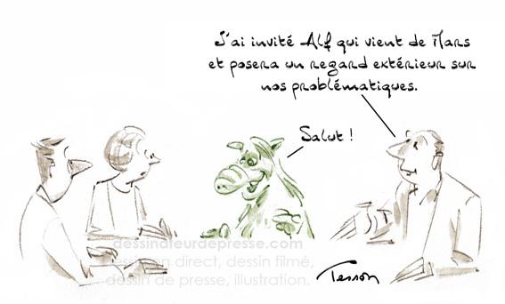 Réunion dessin humoristique, humour.