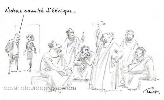 Comité d'éthique en entreprise, dessin de presse.