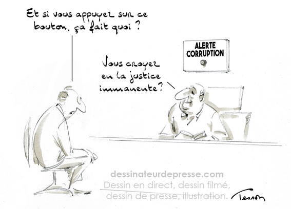 Dessin de presse corruption.