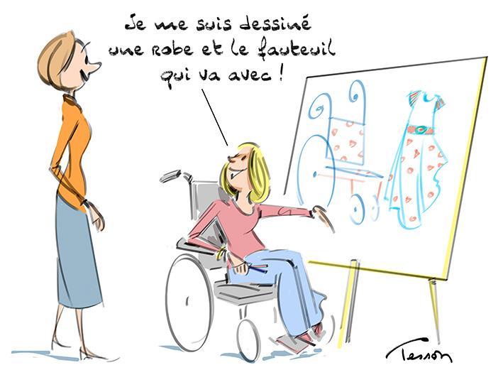 dessin humour handicap vêtement