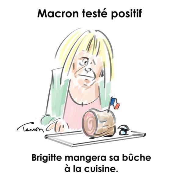 Macron testé positif dessin de presse